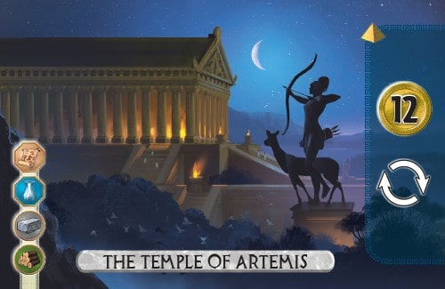 The Temple of Artemis Card from 7 Wonders Duel gains 12 gold and takes an extra turn