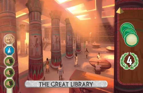 The Great Library Card from 7 Wonders Duel takes a scientific progress token and scores 4 vp.