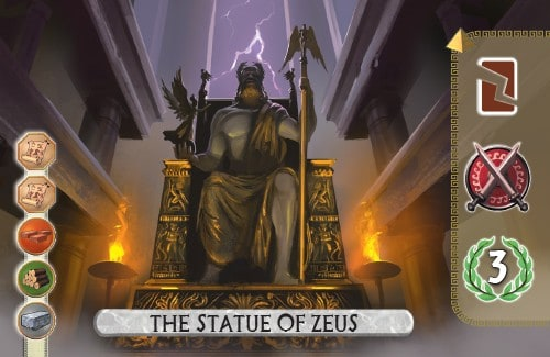 The Temple of Artemis Card from 7 Wonders Duel destroys a resource card, gains a military and scores 3 vp.