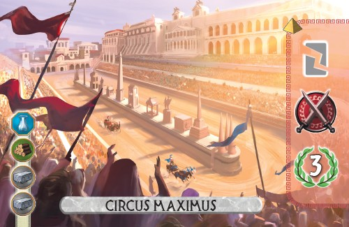 The Circus Maximus Card from 7 Wonders Duel destroys a manufactured good, gains a military, and scores 3 vp.