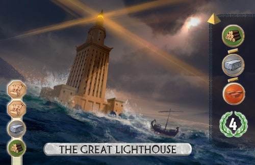 The Great Lighthouse Card from 7 Wonders Duel produces a resource and scores 4 vp.