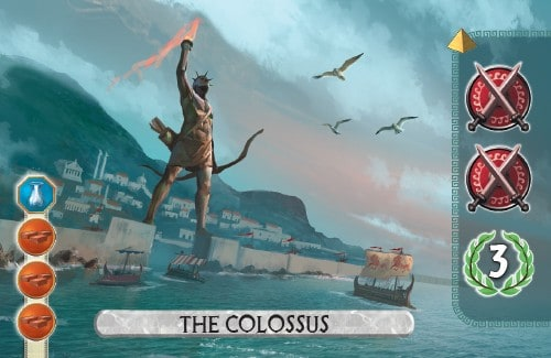 The Colossus Card from 7 Wonders Duel gains 2 military and 3 vp.