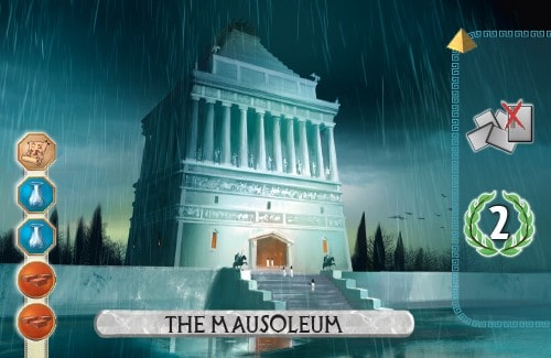 The Mausoleum Card from 7 Wonders Duel gets a discarded card and scores 2 vp.