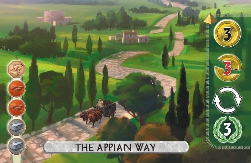 The Appian Way Card from 7 Wonders Duel gains 3 gold, removes 3 gold from an opponent, takes an extra turn and scores 3 vp.