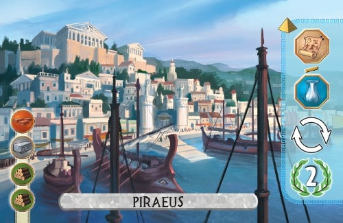 The Piraeus Card from 7 Wonders Duel produces glass or paper, takes an extra turn, and gains 2 vp.
