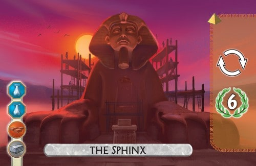 The Sphinx Card from 7 Wonders Duel gains an extra turn and 6vp.