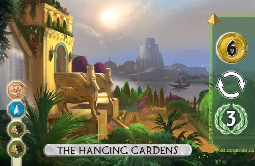 The Hanging Gardens Card from 7 Wonders Duel gets 6 gold, gains an extra turn, and gains 3 vp.