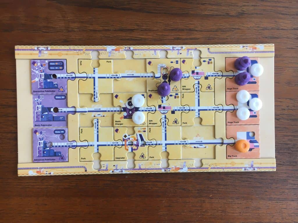 A Mechanica Playerboard, showing a finished game